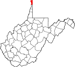 Map of West Virginia highlighting Hancock County