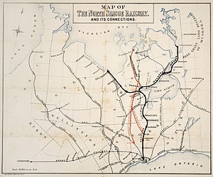 Northern Railway of Canada - Map of the Northern and its various expansions, circa 1877.