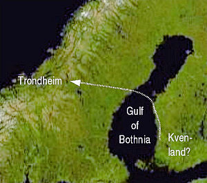 Kvenland - A possible location of Kvenland and Nór's route to the fjord of Trondheim. Kvenland can be placed elsewhere east of Gulf of Bothnia, as well. The selected location on the map is the one with most archaeological finds. Most interpretations locate Kvenland in the less well researched northern coastal area on the Bothnian Bay.
