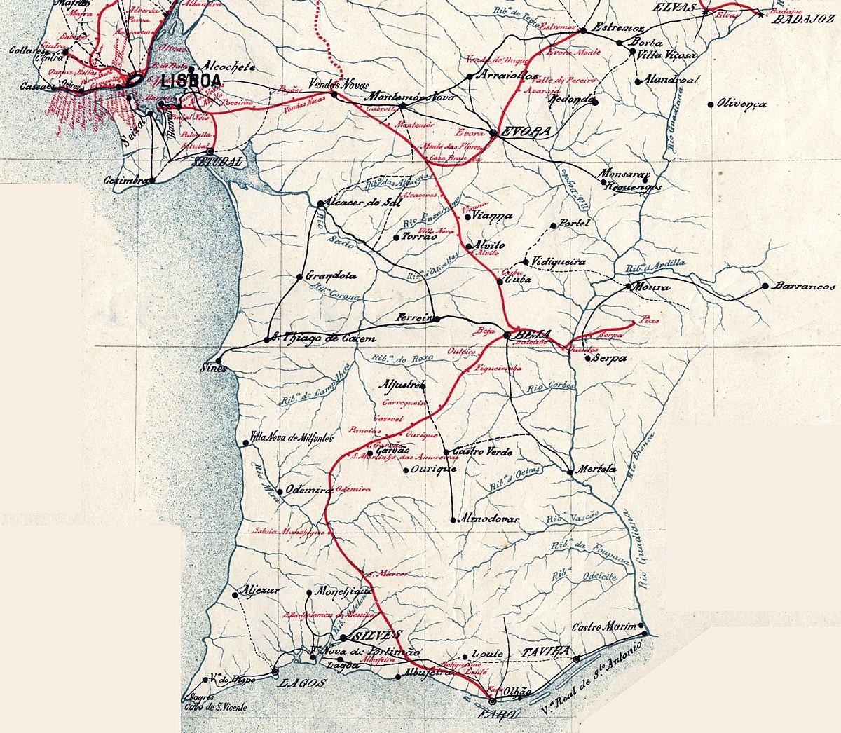 File Mapa Dos Caminhos De Ferro Em Portugal 1895 Sul E Sueste
