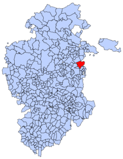 Municipal location of Cerezo de Río Tirón in Burgos province
