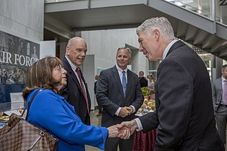 Marian Blank Horn - Judge Horn with her husband Robert Horn, Marine Corps counsel Robert Hogue and Justice Neil Gorsuch in 2017
