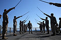 Marines conduct sword manual aboard USS Fort McHenry 150228-M-AR522-148.jpg