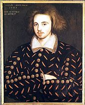 Portrait with front view of a man with long hair, moustache, and arms folded, a putative portrait of Christopher Marlowe (Corpus Christi College, Cambridge).