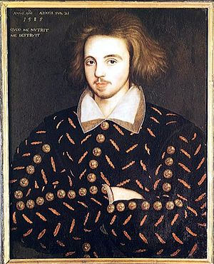 Marlovian theory of Shakespeare authorship - Putative portrait of Christopher Marlowe (Corpus Christi College, Cambridge).