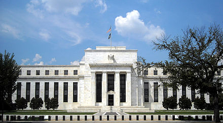 The Eccles Federal Reserve Board Building in Washington, D.C. houses the main offices of the Board of Governors of the United States' Federal Reserve System Marriner S. Eccles Federal Reserve Board Building.jpg