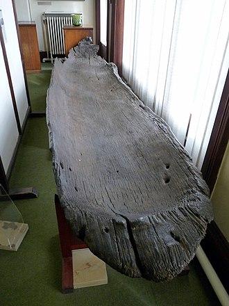 Martin Mere - Martin Mere canoe in the Botanic Gardens Museum, Southport