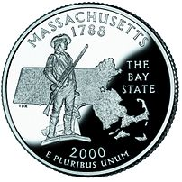 A minuteman statue depicted on the Massachuset...