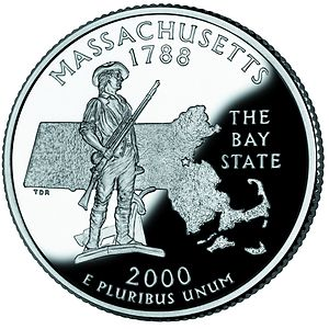 Minutemen - The Concord Minute Man of 1775 statue depicted on the Massachusetts state quarter