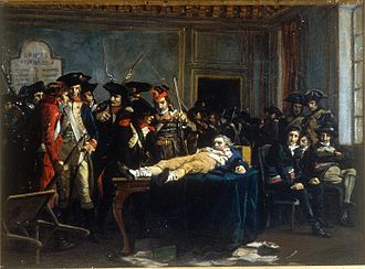 Fall of Maximilien Robespierre - Lying on a table, wounded, in a room of the Convention, Robespierre is the object of the curiosity and quips of Thermidorians, (Musée de la Révolution française)