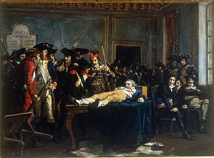 Lying on a table, wounded, in a room of the Convention, Robespierre is the object of the curiosity and quips of Thermidorians, painting by Lucien-Etienne Melingue (Salon de 1877)(Musee de la Revolution francaise) Matin du 10 thermidor an II-Melingue-IMG 2405.JPG