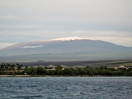 Mauna Kea is the tallest volcano in the Hawaiian-Emperor seamount chain. It is dormant and it has cinder cones growing on the volcano. Mauna Kea from the ocean.jpg