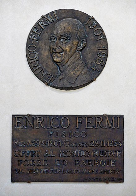 Memorial plaque in the Basilica Santa Croce, Florence. Italy Memorial plaque in honour of Enrico Fermi in the Basilica Santa Croce, Florence. Italy.jpg