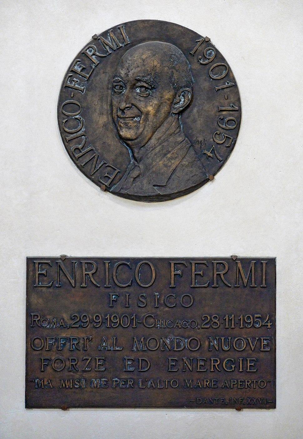 Memorial plaque in honour of Enrico Fermi in the Basilica Santa Croce, Florence. Italy