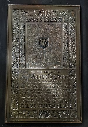 Walter Chepman - Memorial to Walter Chepman in St. Giles' Cathedral erected in 1879 by William Chambers LLD.