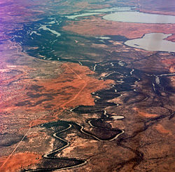 Aerial photograph of river system with adjacent lakes