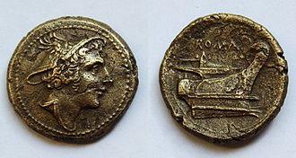 Mercury (mythology) - Mercury portrait on a bronze Semuncia (215–211 BC)