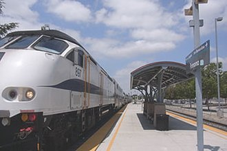 Pomona (North) station - Metrolink train at Pomona (North) station in 2013