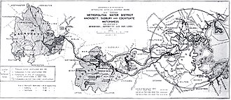 Wachusett Aqueduct - Image: Metropolitan Water District map (Boston, MA, 1910)
