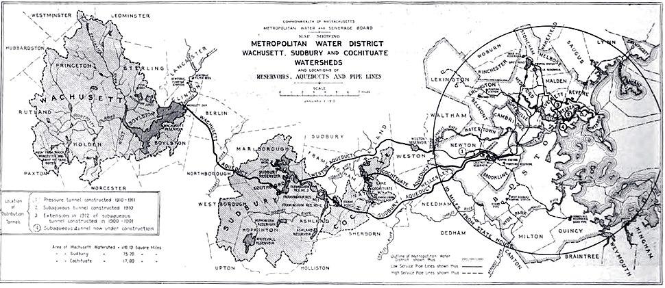 Metropolitan Water District map (Boston, MA, 1910)