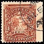 Mexico 1895 3c perf 12 Sc244 used imp right.jpg