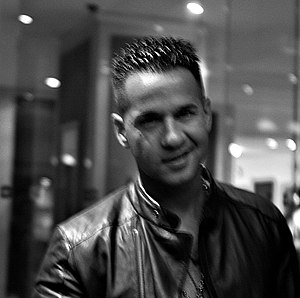 Guido (slang) - Self-proclaimed guido Michael Sorrentino from Jersey Shore, wearing typical clothing associated with the subculture: gold chain, black leather jacket, and quiff.