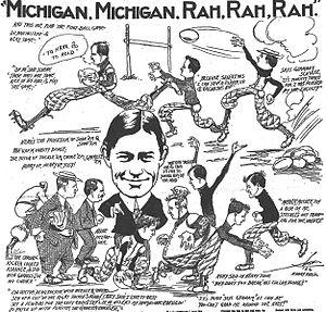 "1906 Michigan Wolverines football team - Cartoon on ""de-brutalization"" of football, October 1906, Detroit Free Press"
