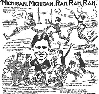 "1906 Michigan Wolverines football team - Cartoon on ""de-brutalization"" of football, October 1906, Detroit Free Press"
