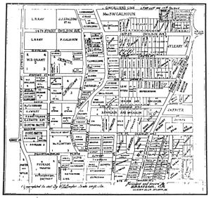 Tenth Street (Atlanta) - Map of the 10th and Peachtree area in 1895