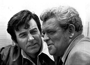 Mike Connors - Connors with Eddie Egan in a publicity photo for Mannix, 1972