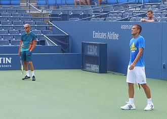 Mikhail Youzhny - Mikhail Youzhny practicing with his longtime coach Boris Sobkin