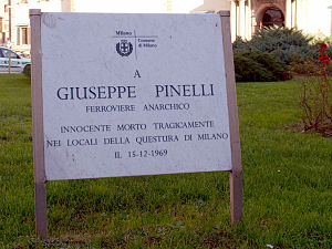Piazza Fontana bombing - Plaque in memory of the anarchist Giuseppe Pinelli.