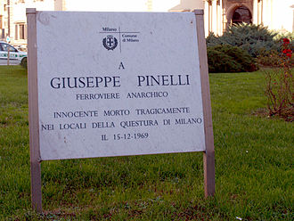 Giuseppe Pinelli - The new memorial tag in memory of Giuseppe Pinelli, as of opposed to the old one which is also still there