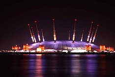 The Millennium Dome at night, Sept 2000
