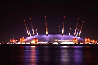 Millennium Dome - The Millennium Dome at night, September 2000