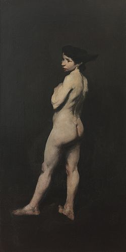 a nude white woman, against a black background
