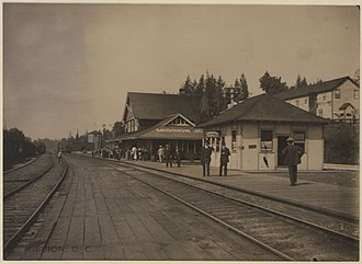 Mission, British Columbia - Mission's old CPR train station in 1910