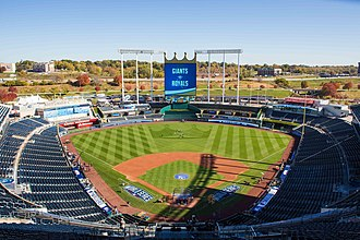 2014 World Series - Kauffman Stadium in preparation for Game 1 of the World Series