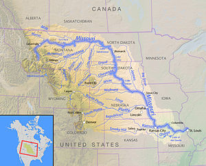 Yellowstone expedition - Map of the Missouri River watershed with tributaries and states labelled