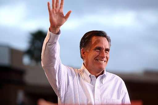 Mitt Romney waving close up