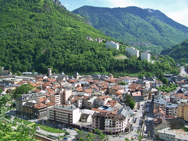 Panoramic view of the city of Moûtiers in Savoie, France.