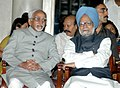 Mohd. Hamid Ansari and the Prime Minister, Dr. Manmohan Singh at the reception hosted by the President, Smt. Pratibha Devisingh Patil, in honour of Freedom Fighters at Rashtrapati Bhavan, in New Delhi on August 09, 2008.jpg