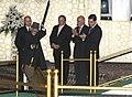 Mohd. Hamid Ansari shovels earth to signify the Groundbreaking Ceremony of the TAPI Gas Pipeline, in Mary, Turkmenistan. The President of Turkmenistan, Mr. Gurbanguly Berdimohamedov, the President of Afghanistan.jpg
