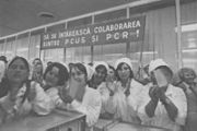 Moldovan workers during Ceausescu visit (1972). (14549532742)