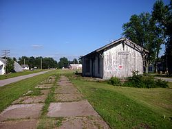 Former Erie Railroad depot, with platform remnants and old right-of-way yet visible