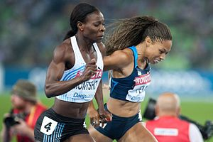 2011 World Championships in Athletics – Women's 400 metres - The finish of the women's 400 metres at Daegu, Allyson Felix straining to try to catch Amantle Montsho