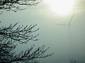 Morris wind turbine in fog with sun.jpg
