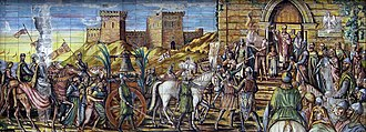 Caltagirone - The Taking of the Bell of Altavilla to Caltagirone, polychrome maiolica mosaic  in the square of Santa Maria del Monte, atop the decorated staircase.