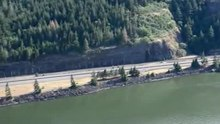 File:Mosier Oregon 2016 oil tank car burning overflight by Coast Guard.ogv