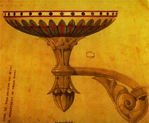 Jacob Wrey Mould - A drawing of a lamp by Jacob Wrey Mould.